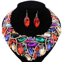 Mujeres accesorios nupciales del pendiente del collar diamantes de imitación de cristal joyería fija el traje africano multicolor de moda de la boda Conjunto de joyas