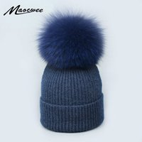 Real Fox Fur pom poms ball Skullies Beanies Keep Warm Winter...