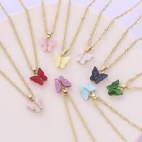 Mode papillon collier acrylique chaînes d'or Pendentif papillon colliers pour les femmes cadeau de bijoux de mode volonté et de sable nouvelle