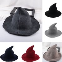 Chapéus de Brim Pedidos Fufucaillm 2021 Moderna Halloween Witch Hat Forma Fedoras para Adult Girl Party