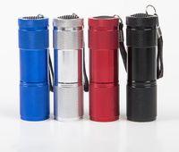 Lampe de poche à LED UV 9led UV 400NM UV LED de la torche de lampe de poche Aluminium batterie de la batterie de lampe de poche LED UV CF2020
