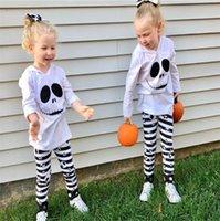 할로윈 키즈 2 개 피스 세트 잠옷 정장 후드 블라우스 탑 T 셔츠 줄무늬 바지 아기 소녀 운동복 가을 의상 스포츠 의류 LY917