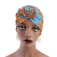 Ethnic Wind Whirlpool Knotted Turban Hat 15 Colors Women Hea...