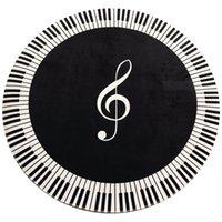 Tapis Tapis Musique Musique Symbole Piano Touche Noire Blanc Rond Noir antidérapant Chambre à coucher Chambre à coucher Tapis de sol