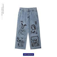Мужские джинсы Uncledonjm мультфильм напечатаны BF Harajuku модный бренд улица повседневная граффити свободный синий N1163
