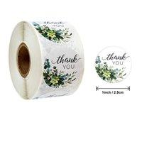 Você Stickers Flower presentes impressão de embalagem Etiqueta Bouquet Biscoitos Candy Box Labels Decoração do casamento Adesivos 500pcs / Roll Obrigado