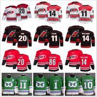 2018-2019 Temporada Carolina Huracanes 20 Sebastian AHO 53 Jeff Skinner 11 Staal Hockey Jerseys Hombres Todos los camisetas de hockey cosidas