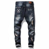 Hip Hop Design Märke Jeans för Herr Rak Fashion Hole Ripped Distressed Moto Bike Vintage Jean Plus Storlek KG-288