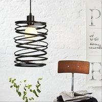 lâmpada sotão Vintage black metal espiral sombra de luz pendente gaiola cozinha ilha Motent do vintage industrial luminárias de suspensão