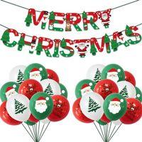크리스마스 장식 산타 클로스 풍선 세트 풍선 라텍스 풍선 세트 메리 크리스마스 종이 배너 크리스마스 트리 풍선 장식품 ly924