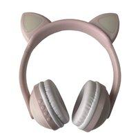 Tibomoon القط الأذن سماعات بلوتوث ستيريو الصوت الضوضاء الغاء سماعات الرأس الوردي مع الصمام الخفيفة للأطفال والكبار