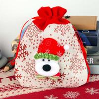 Decorazione di Natale ornamenti Santa Sacks sacchi non tessuti sacchi con coulisse con rennes claus festival partito sacchetti regalo di caramelle