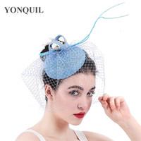 Mode Nouvellement Design Madame bibi Mesh Barrettes été pilulier Fedoras Hat Pour les femmes élégantes de fête formelles rouge noir couvre-chef SYF307