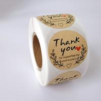 500pcs / 롤 인쇄 사랑 고맙습니다. 접착 스티커 레이블 1inch 봉투 인감 패키지 컬러 파티 스티커