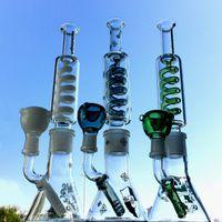 11 pollici Beaker Bong Bong Acqua di vetro freezable con tubi di acqua congiunta 14mm Bobina di condensatore in linea Inline Perc DAB Rigs Narghilè con ciotola e clip