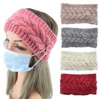 Gesichtsmaske Schutz Frauen Gym Sport Yoga Hair hairlace Headress Winter-warmer Strickhaarschmuck Stirnband mit Knopf-Ohr