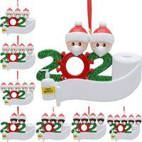 Weihnachten Quarantäne Anhänger PVC DIY Namen Quarantine Survivor Puppe Anhänger 2 3 4 5 Puppe tragen Masken Ornament BWA1458