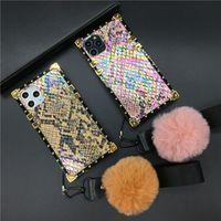 Moda Glitter Renkli Yılan Kapak Kare Telefon Kılıfı Huawei P30 Pro P20 P40 Mate 30 Onur 20 V30 8X 10 Nova 5 3 6 Y6 Y7 Y9 için