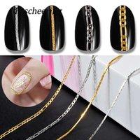 Nail Art 50cm metal rayas de la cadena de joyería Decoración hueco de plata del encanto del oro 3D DIY Diseño Línea Accesorios Herramientas de manicura