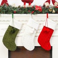 Laine à tricoter d'arbre de Noël Bas de Noël rouge blanc vert Ornement Tricoté Père Noël Cadeaux Sacs Chaussettes suspendus bas de Noël OWF1703