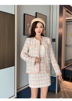 2020 여성의 가을 새로운 핑크 격자 무늬 패턴 트위드 모직 짧은 코트와 연필 짧은 치마 twinset 정장 SML