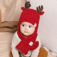 아기 소녀 소년 슈퍼 사랑스러운 사슴 유아 유아 겨울 모자와 스카프 세트 두꺼워 양털 니트 크리스마스 선물 캡 따뜻하게
