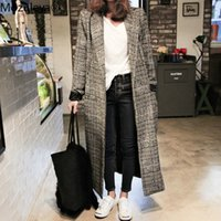 Autumn Winter Cashmere Trench Jacket Women long Casual Plaid...