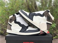 2020 Hot Air Authentic 1 High OG TS Dark Mocha Men Basketball Shoes Travis Scott Black Sail leather Outdoor Sneakers With Original Box