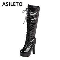Boots Asileto Размер 34-43 Женщины Лонг-Коленое Сексуальное кружева Патентная Кожаная Обувь Платформа Женщина Высокие каблуки Верений Ботас Мотоцикл