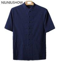 Yeni Moda Trendleri Lacivert Çin Pamuklu erkek Klasik Gömlek Çin El yapımı Düğme Tang Suit Boyut M L XL XXL XXXL