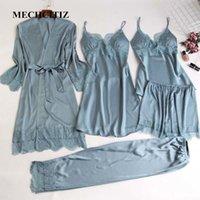MECHCITIZ 5 pezzi di seta pigiami set donne del raso pantaloni dell'abito pigiameria pigiama autunno accappatoio sexy lingerie di pizzo pigiama invernale 200919