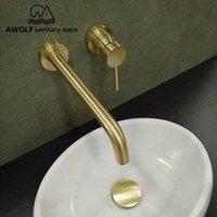 ناعم الذهب حوض صنبور الصلبة براس حمام الجدار الخيالة صنبور دش خلاط صنبور حوض صنبور المغسلة لLavatary ML8032