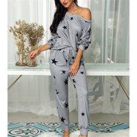 YICIYA Women Drawstring Design Stars Print Top Casual And Casual Pants Set Long Sleeve Off Shoulder Spring Top Pants Pajamas Set X0923