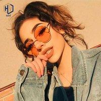 Óculos de sol sen maries moda 2021 mulheres redondas quadro de metal vintage rosa lente amarelo sombra colorida óculos uv400