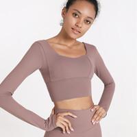 Luyogasports الرياضة البرازيلي لو اليوغا رياضة ملابس النساء لو قمم بأكمام طويلة تي شيرت مع وسادة الصدر بلون ضيق قميص اللياقة البدنية
