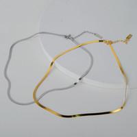 Versão Silvology Sterling Silver Plano Cobra gargantilhas por Mulheres atualizado Clavícula Cadeia Colar 925 minimalista Jóias