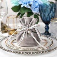 20pcs luxe Emballage étui en velours avec cordon de serrage Sac Cadeau pour sachet Bijoux mariage avec bonbons Boîtes perle cordes Décor Favors Sacs