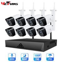 Wetrans ses sistemi kamera gözetim 1080 P 8CH kablosuz gece görüş ev güvenlik açık wifi kamera 4ch cctv kiti