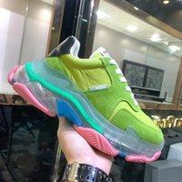 Топ качества Женская мужская шестислойная комбинация нижних тройных S 17FW папа повседневная обувь мода дизайнер Triple S с прозрачной подошвой обувь 36-45