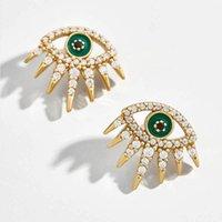 새로운 전체 크리스탈 투명 에나멜 악마의 눈 스터드 귀걸이를 들어 여성 패션 작은 녹색 눈 골드 스터드 귀걸이 보석 선물