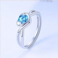 Küme Yüzükler Charm Kristal Mavi Kalp Kadın Takı Parlak CZ Parmak Bijou Trendy Gümüş 925 Yüzük Kadınlar Prenses Doğum Günü Aksesuarları