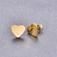 Martick Gold Farbe Herz-Ohrringe für Frauen Rose Gold-Farbe-Herz-Bolzen-Ohrringe mit englischen Buchstaben edlen Schmuck Geschenk