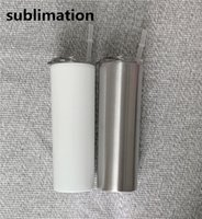 DIY sublimation blank skinny tumbler 20oz stainless steel sl...