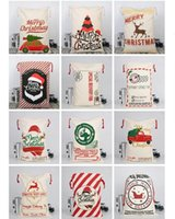 2020 Hot Christmas Canvas drawstring bag Drawstring Bag Reindeers Santa Sack Bags Drawstring Canvas Present Bag Xmas bags Decorations DHL