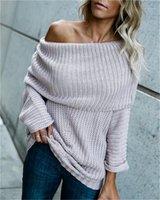 Sexy lose Normallack langärmelige Pullover Lange Pullover Mode für Frauen Pullover-Boot-Ausschnitt Womens Designer Pullover Gelegenheits