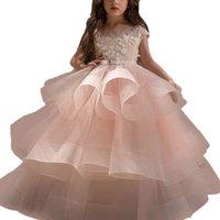 2021 귀여운 Lanvender 꽃의 소녀 드레스 레이스 Appliqued 진주 짧은 프릴이 여자 선발 대회 드레스 보석 목 계층 스커트 어린이 정장 착용
