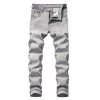 Męskie dżInsy Mężczyźni Patch Design Classic Homme Denim PROSTO MYTE BAWEŁNIANE Spodnie Szare Marka Moda Casual Männlich