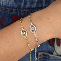2020 amuleto de la suerte mal de ojo pulsera 15 + 4 cm extiende la cadena de color oro plata para pulseras de la manera caliente de la estación de cz ronda de las mujeres niña