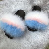 Preciosa linda 38 colores diseñador de moda dulces de color rosa azul casual en el hogar real de la piel de zorro eva planas flip-flop sandles zapatillas para hombres mujeres niñas