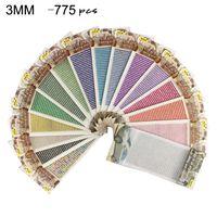 775pcs 3mm autoadesivo DIY colorido strass folha de adesivo 13 cores fita de cristal com goma diamante adesivos para decorações de carro artesanal